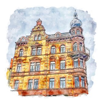 Architecture castle germany watercolor sketch hand drawn illustration
