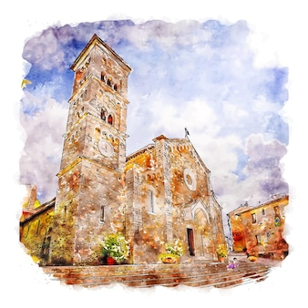 Architecture castle italy watercolor sketch hand drawn illustration