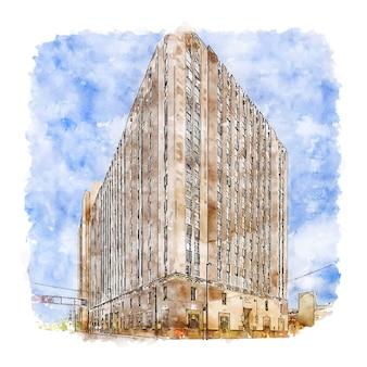 Architecture cincinnati united states watercolor sketch hand drawn illustration