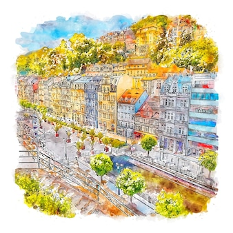 건축 도시 체코 수채화 스케치 손으로 그린 그림