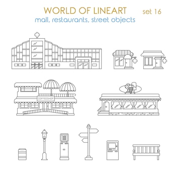Architecture city public business estate building local business al line art style  set world of lineart collection