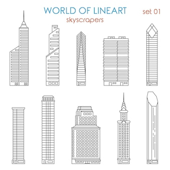 Architecture city skyscraper al lineart  style set. world of line art collection.