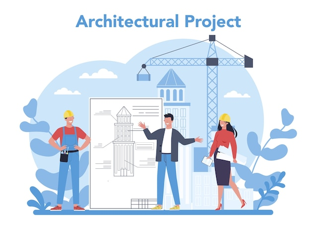 Architecture concept. idea of building project and construction work. scheme of house, engineer industry. construction company business. isolated flat vector illustration
