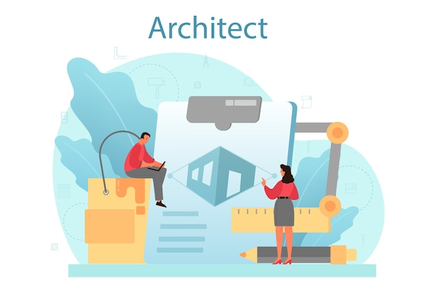 Architecture concept. idea of building project and construction work.