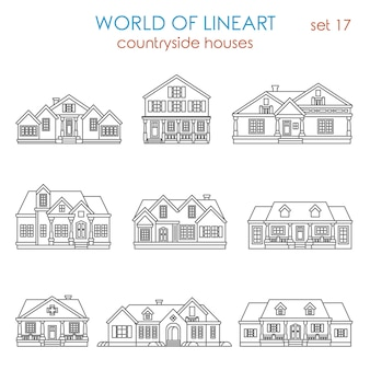 Architecture countryside house townhouse al line art style  set.