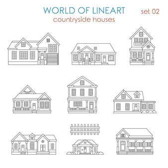 Architecture countryside house townhouse al lineart  set. world of line art collection.