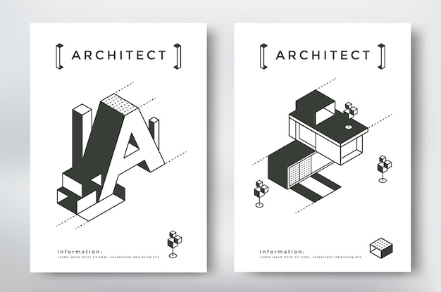 Architecture cover design a4 format template. isometric building and geometry elements.
