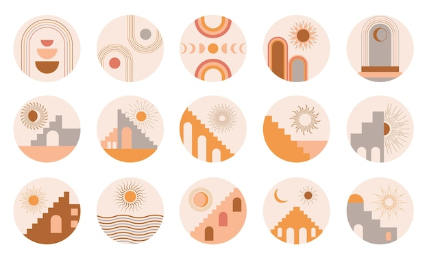 ボヘミアンスタイルサークル抽象プリントの建築要素