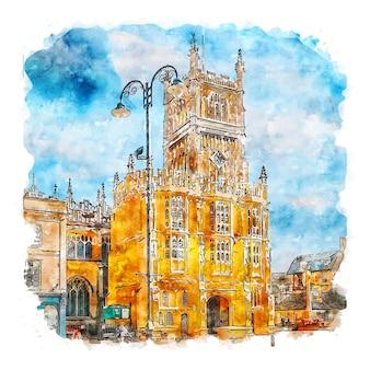 Архитектура англия акварельный эскиз рисованной иллюстрации