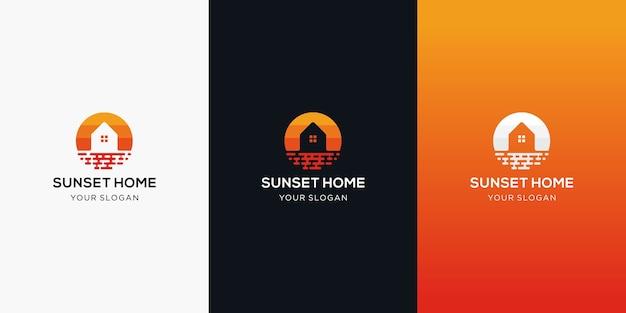 日没のシンボルのロゴデザインイラストプロパティアイコンの家と家の建築