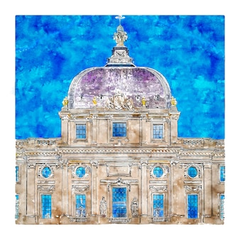 Architecture france watercolor hand drawn illustration