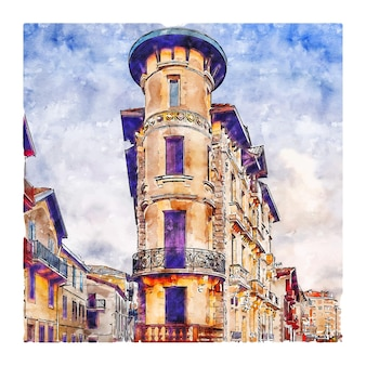 Architecture france watercolor sketch hand drawn illustration