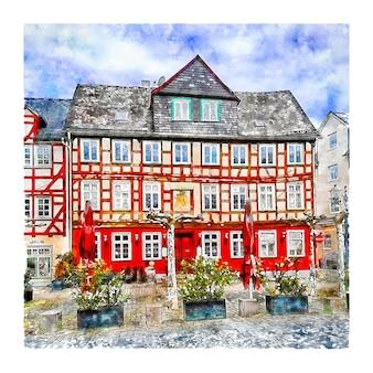 건축 독일 수채화 손으로 그린 그림
