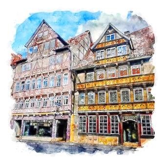 건축 독일 수채화 스케치 손으로 그린 그림