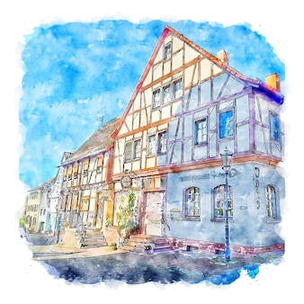Architecture germany watercolor sketch hand drawn illustration