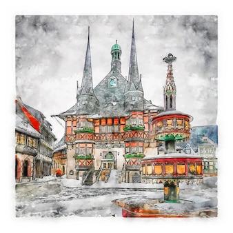 建築ドイツ水彩スケッチ手描きイラスト
