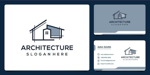Архитектура дома и дизайн логотипа здания с визитной карточкой