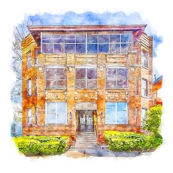 건축 집 미국 수채화 스케치 손으로 그린 그림