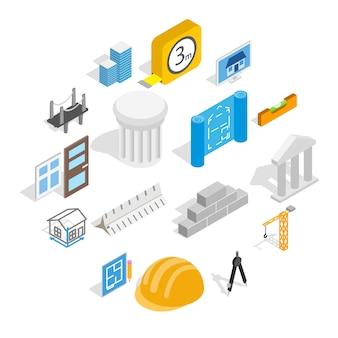 Architecture icon set, isometric style