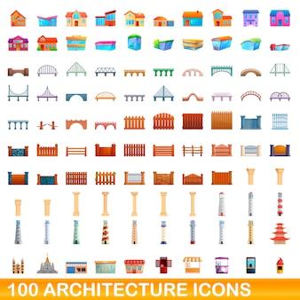 Architecture icons set, cartoon style