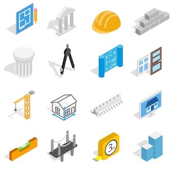Значки архитектуры установленные в равновеликом стиле 3d изолировали иллюстрацию вектора