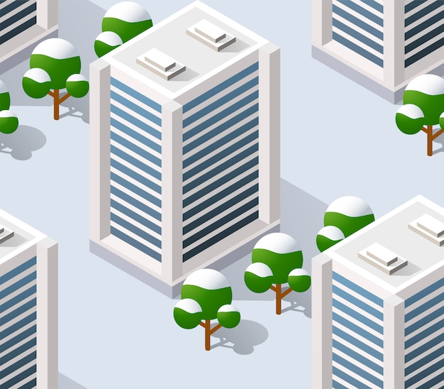 Architecture illustration city for seamless repeating