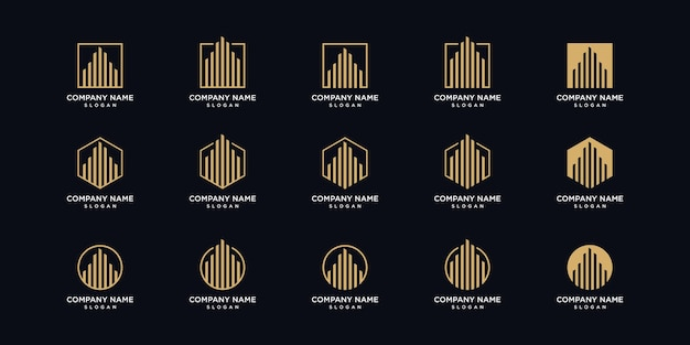 Пакет дизайна логотипа для архитектуры в стиле лайн-арт