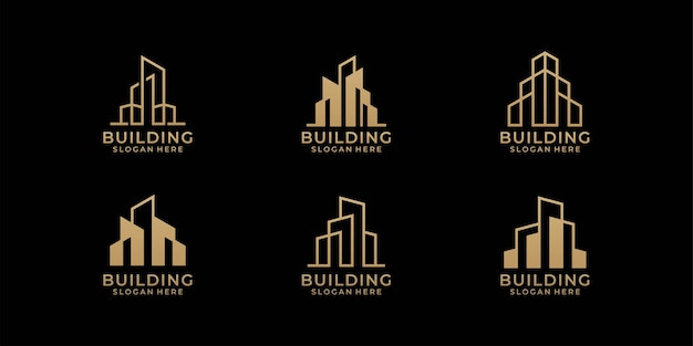 Architecture logo design bundle in line art style