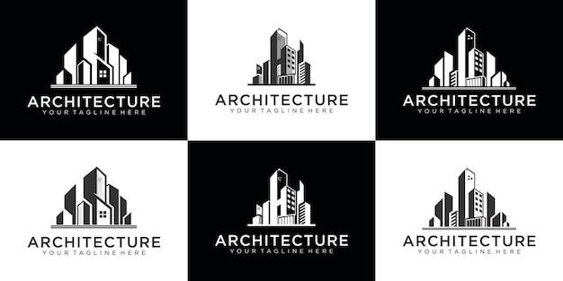 Дизайн логотипа архитектуры с визитной карточкой