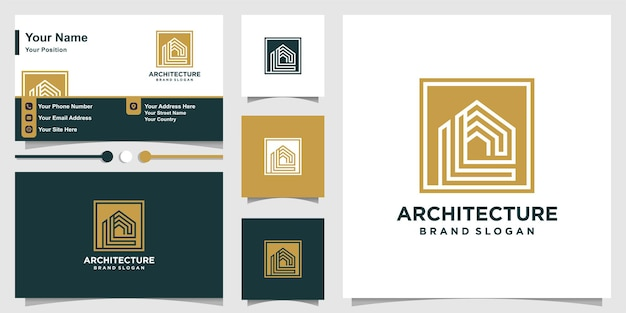 Architecture logo template and business card premium vector