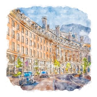 Architecture london united kingdom watercolor sketch hand drawn illustration