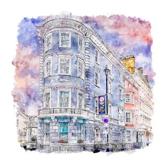 建築ロンドン水彩スケッチ手描きイラスト