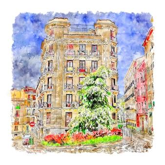 建築マドリードスペイン水彩スケッチ手描きイラスト