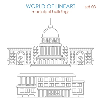 Architecture municipal government building al lineart  style set. world of line art collection.