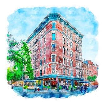 건축 뉴욕 수채화 스케치 손으로 그린 그림