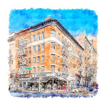 建築ニューヨーク水彩スケッチ手描きイラスト