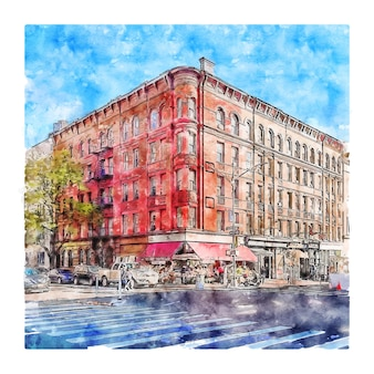 Architecture new york watercolor sketch hand drawn illustration