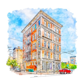 건축 오하이오 미국 수채화 스케치 손으로 그린 그림