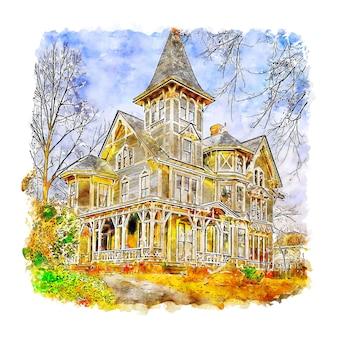건축 오래 된 집 수채화 스케치 손으로 그린 그림