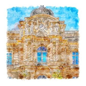 Architecture paris france watercolor hand drawn illustration Premium Vector