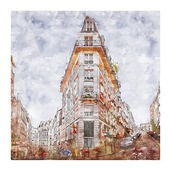 Architecture paris france watercolor hand drawn illustration