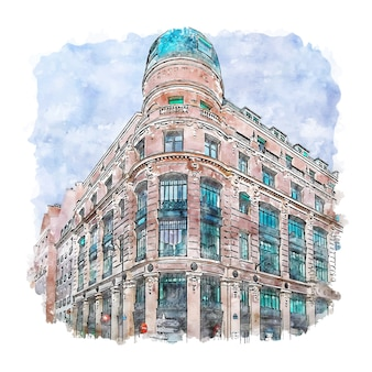 Architecture paris france watercolor sketch hand drawn illustration