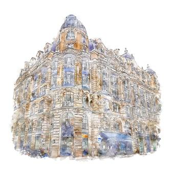 건축 파리 프랑스 수채화 스케치 손으로 그린 그림