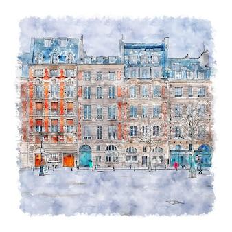 建築パリフランス水彩スケッチ手描きイラスト