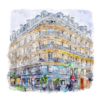 建築パリフランス水彩スケッチ手描き