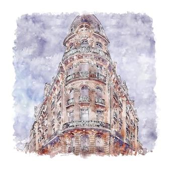 Архитектура париж франция акварельный эскиз рисованной