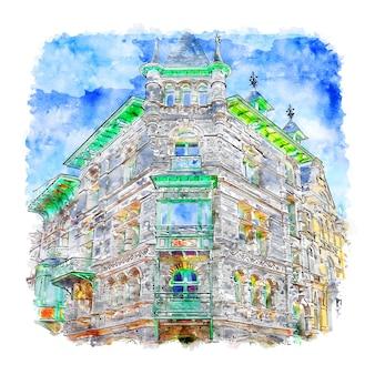 Архитектура париж акварельный эскиз рисованной