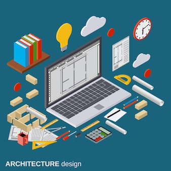 Architecture planning, interior project, architect workplace, computer design flat 3d isometric illustration. modern web graphic concept