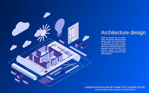 建築計画、インテリアプロジェクトフラットアイソメトリックコンセプト