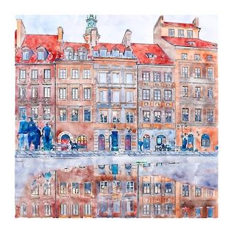건축 폴란드 수채화 손으로 그린 그림